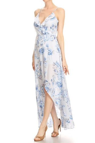 Sleeveless Floral Wrap Dress