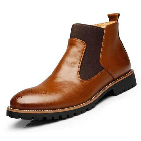 Real Leather Brogue Martin Male Boots
