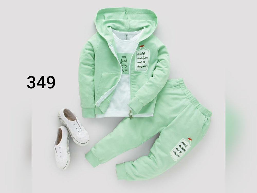 Green shirt pant set with jacket-B6