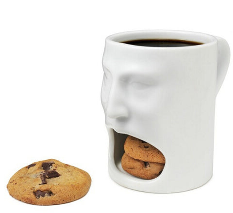 Face Mug - Ceramic Cookies Cup Dunk Mug with Biscuit holder