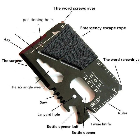 Outdoor multi-purpose knife card survival tool