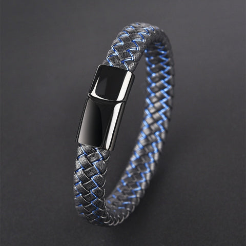 Black Blue Braided Leather Bracelet