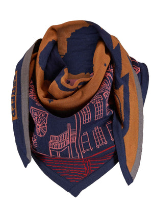 SOLD OUT - Mountain View Cowboy Town Triangle Scarf