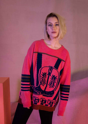 Ace-High Cowgirl Sweater Pink/Navy Model