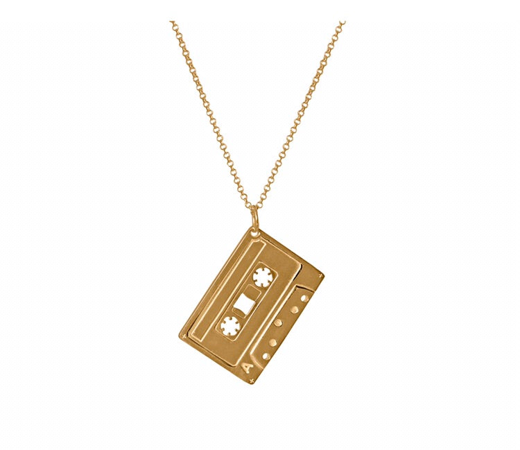 MIXED TAPE PENDANT  Electronic Sheep X Edge Only 'Mixed Tape' Pendant - sterling silver fully plated in 18 carat gold