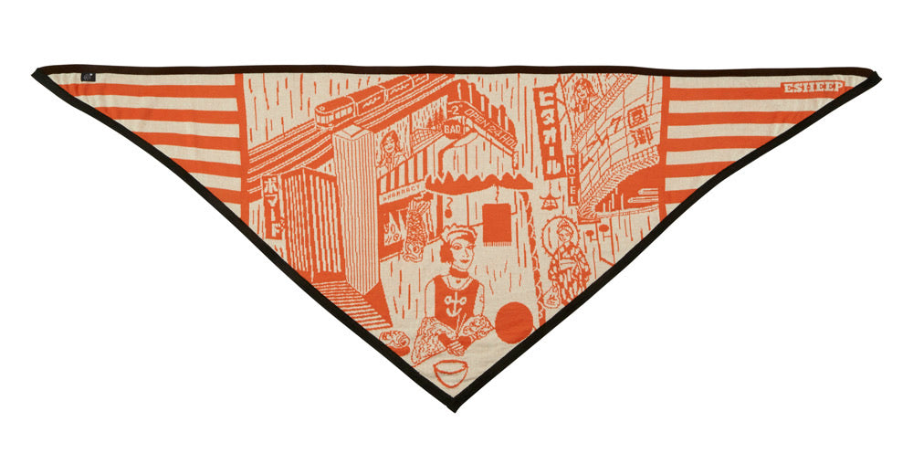 SOLD OUT - GIRL EATING NOODLES TRIANGLE SCARF
