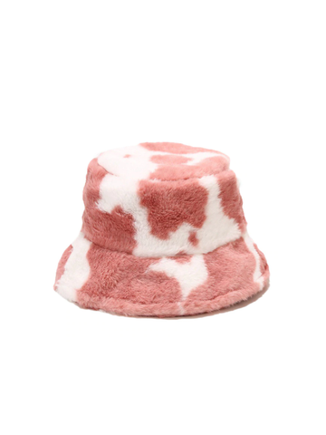 Furry Bucket Hat (Pink Cow)