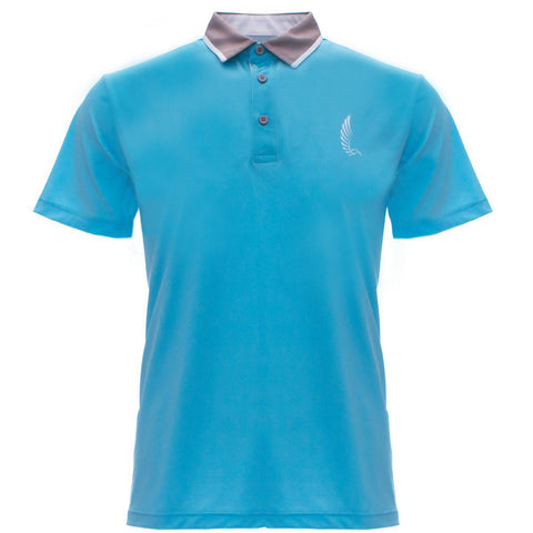 "AGW ""San Diego"" Sky Blue/Gray/White Polo"