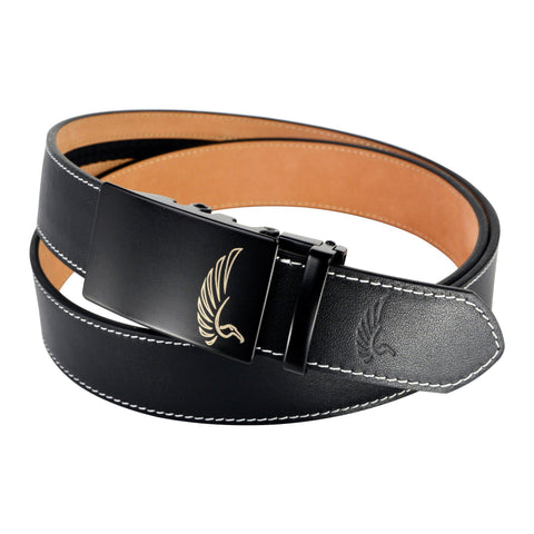 "AGW ""Big Bird"" Black Top Grain Leather Slide Belt"