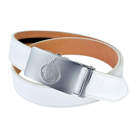 "AGW ""Circle The Wagons"" White Top Grain Leather Slide Belt"