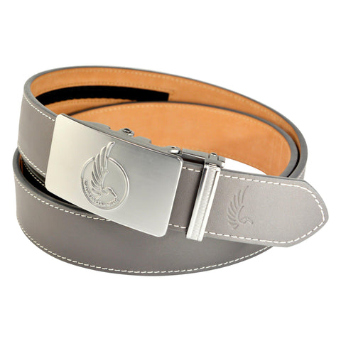 "AGW ""Circle The Wagons"" Gray Top Grain Leather Slide Belt"