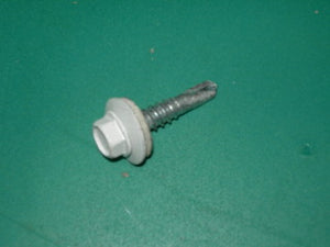 "Screw, #12 Steel Self Drilling - 5/16"" Unslotted Hex Head - .398-.432 Neoprene Washer - 7/8"" Long - White"