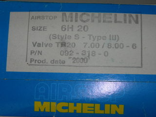 Tube, Wheel - 7.00/8.00-6 - Michelin - Airstop - Style S - Type III