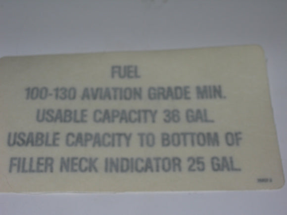 Placard, Fuel Capacity