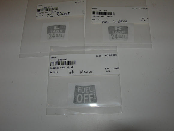 AirWard Piper PA28 Fuel Tank Selector Placards - Kit B