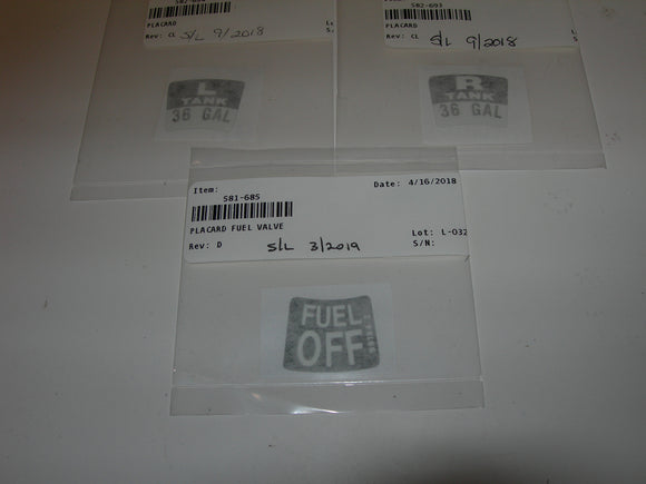 AirWard Piper PA28 Fuel Tank Selector Placards - Kit C