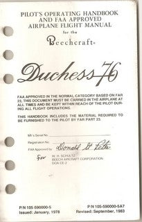 Manual, Beechcraft - Duchess BE-76 - 1976/1978 - Pilot's Operating Handbook