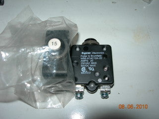 Breaker, Circuit - Push/Reset - 15 Amp - TYCO/Potter & Brumfield