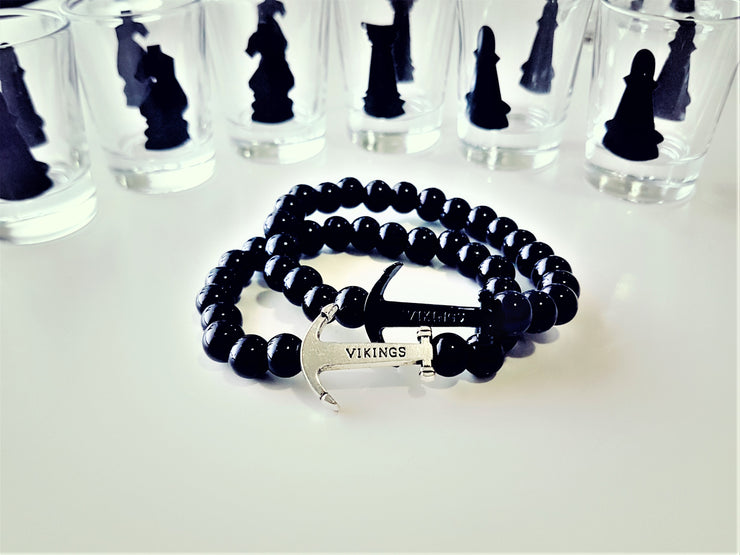 Anchor &  Ravishing Black Beads Bracelet