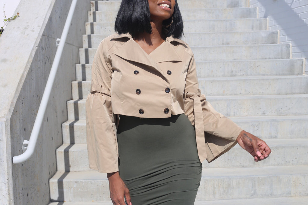 Crop Khaki Trench