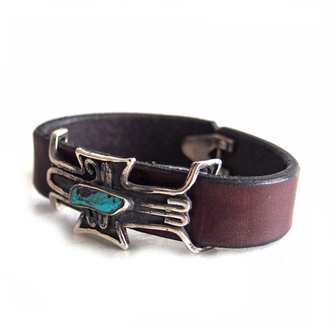 LEATHER PLATE TURQUOISE BANGLE