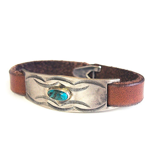 PLATE TURQUOISE LEATHER BANGLE