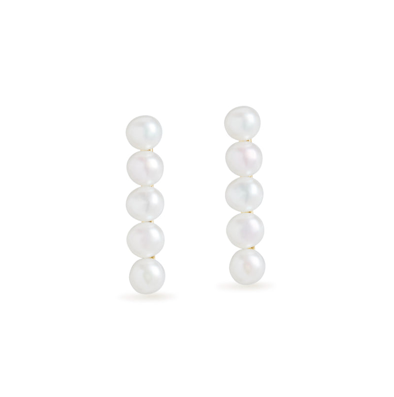 Five Pearl Bar Stud Earrings
