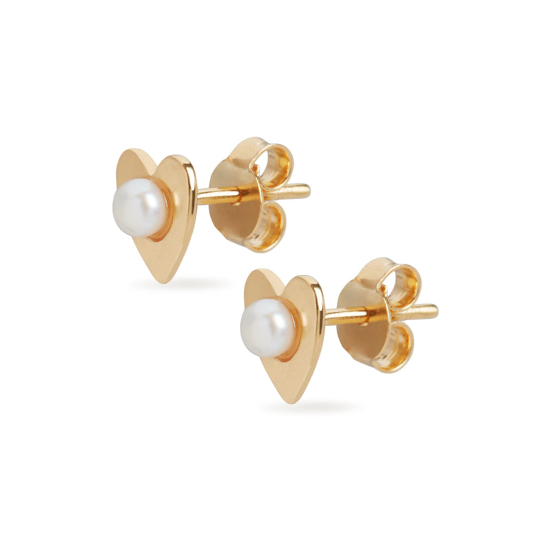 Heart Pearl Stud Earrings