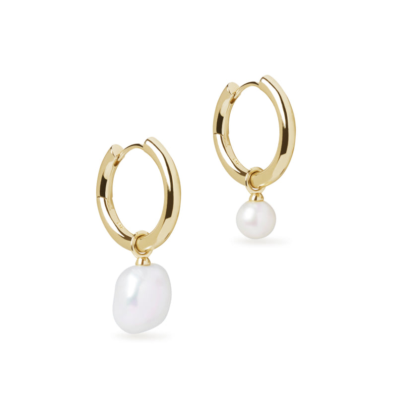 Asymmetric Midi Hoop Earring with Baroque Pearl & Round Cultured Pearl Charm Gold Set