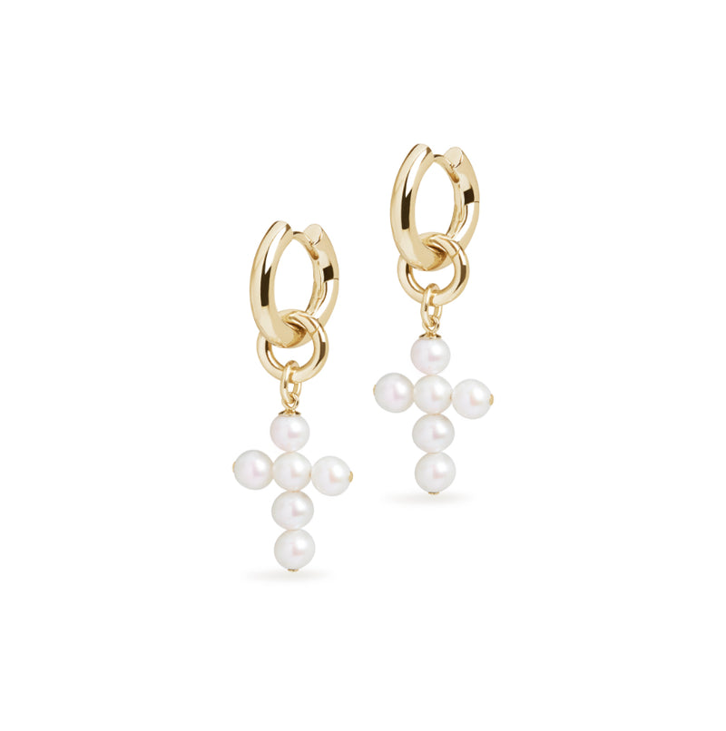 Small Hoop and Cross Pearl Charm Gold Earring Set