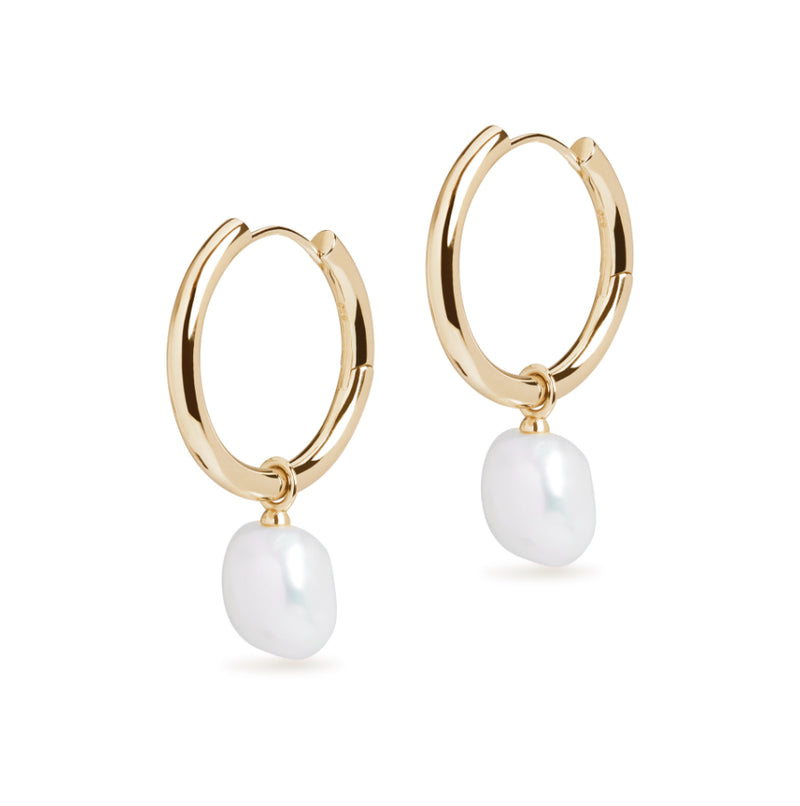 Large Hoop and Baroque Pearl Charm Gold Earring Set