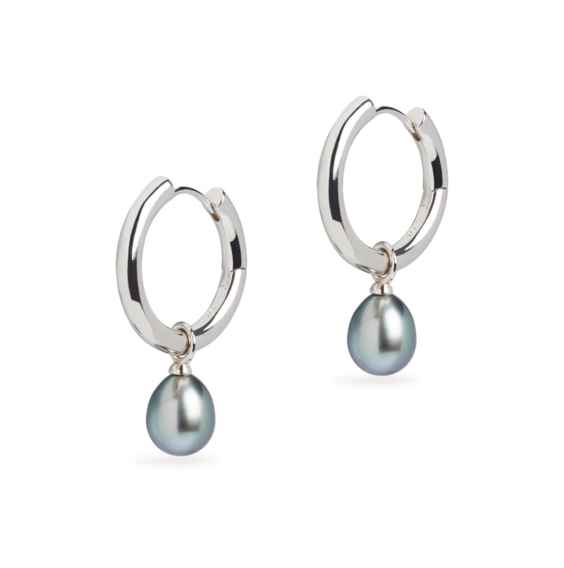 Midi Hoop and Tahitian Pearl Charm Silver Earring Set