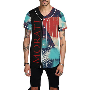 All Over Print Baseball Jersey for Men (T50), Morati World, Morati Avant Garde Jersey Red - Morati