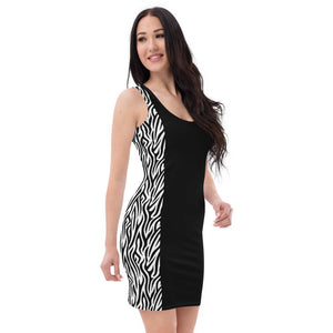 All-Over Print Dress, Morati World, Goddess Zebra Dress - Morati