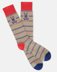 MENS MINI STRIPE SOCK - B6F411E1PB - HEATHER OATMEAL (HOA)