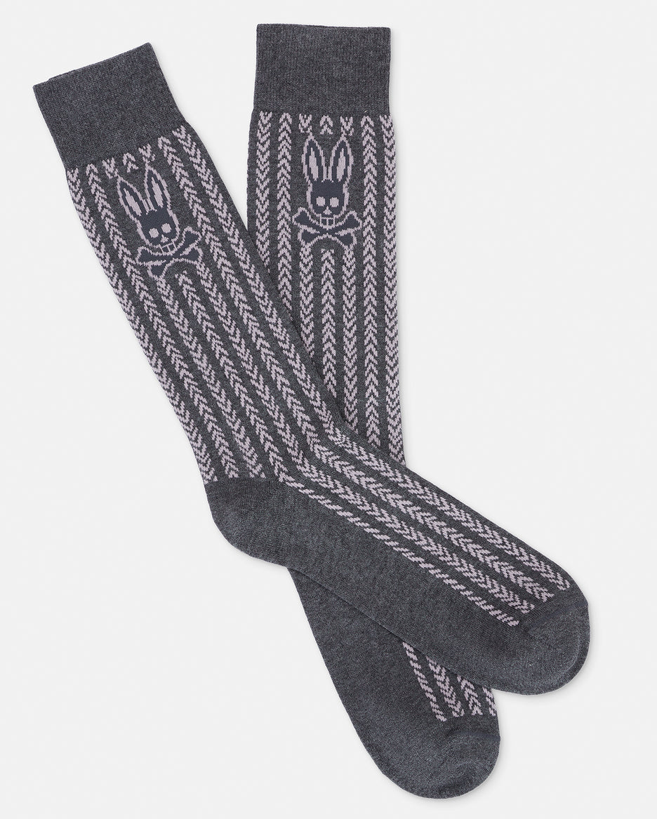 MENS VERTICAL STRIPE SOCK - B6F416E1PB - HEATHER GRANITE (HGT)