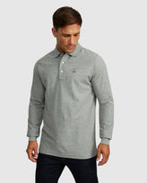 MENS LONG SLEEVE POLO - B6M658ARPC - HEATHER GREY