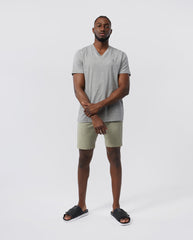 MEN'S V NECK TEE - B6U100ARPC - HEATHER GREY