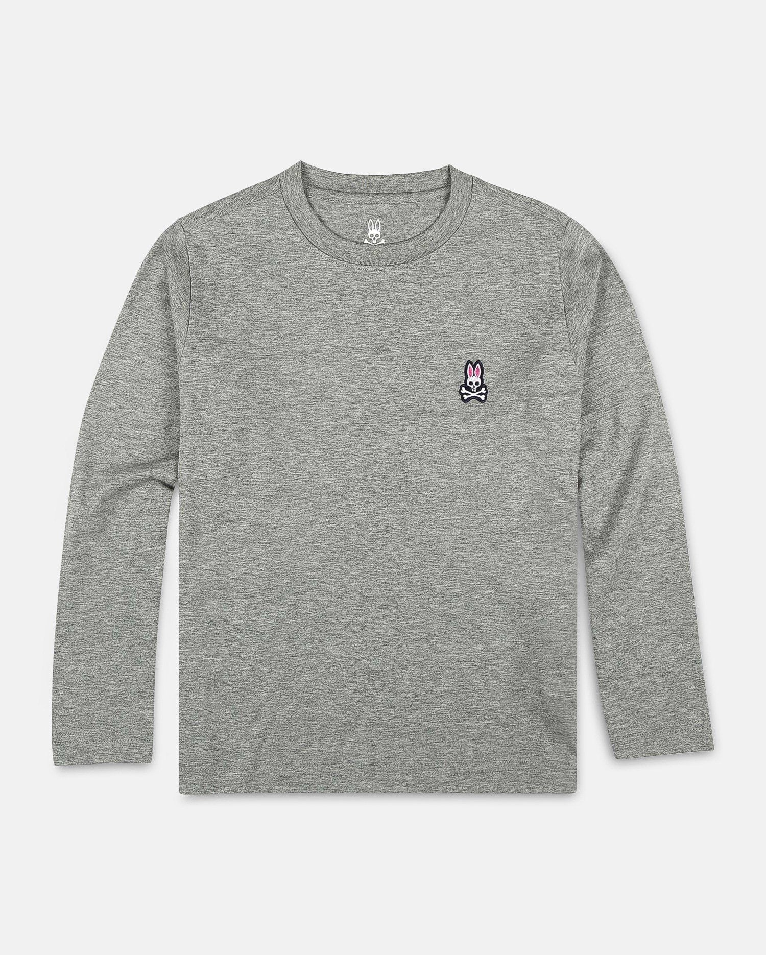 BOYS CREW NECK LONG SLEEVE TEE - B0T422S7PC - HEATHER GREY (HGY)