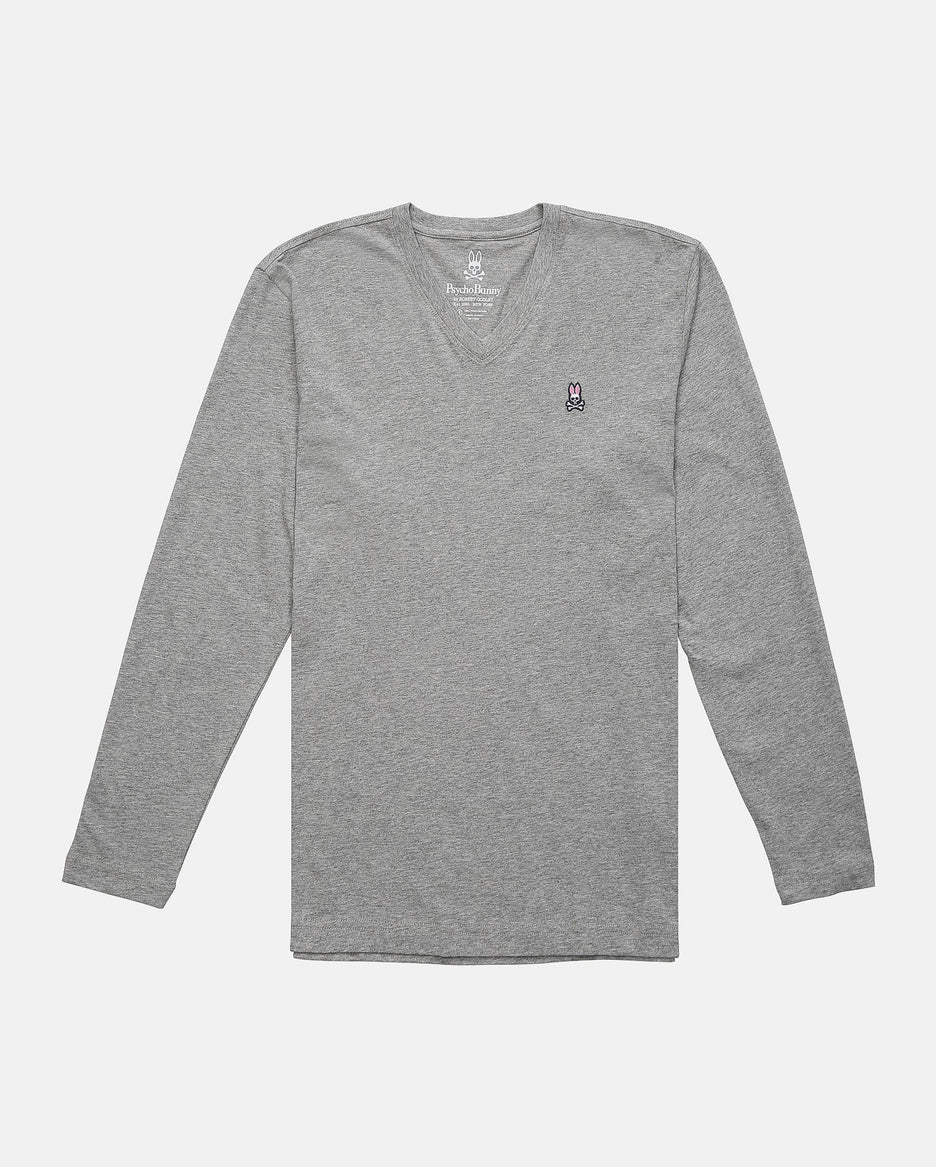 MENS LONG SLEEVE V NECK TEE - B6T421ARPC - HEATHER GREY (HGY)