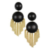 Chandelier Ball Drop Earrings - Ebony and Gold