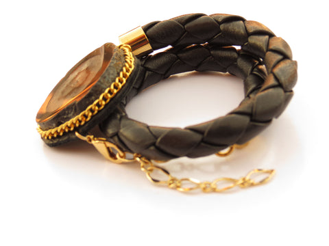 Black Druzy Leather Wrap Bracelet