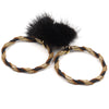 Double Wrap Mink Hoop Earrings - Ebony