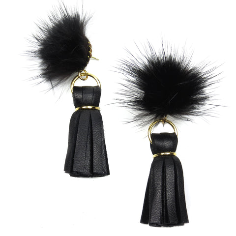 Mink Tassel Earrings - Black