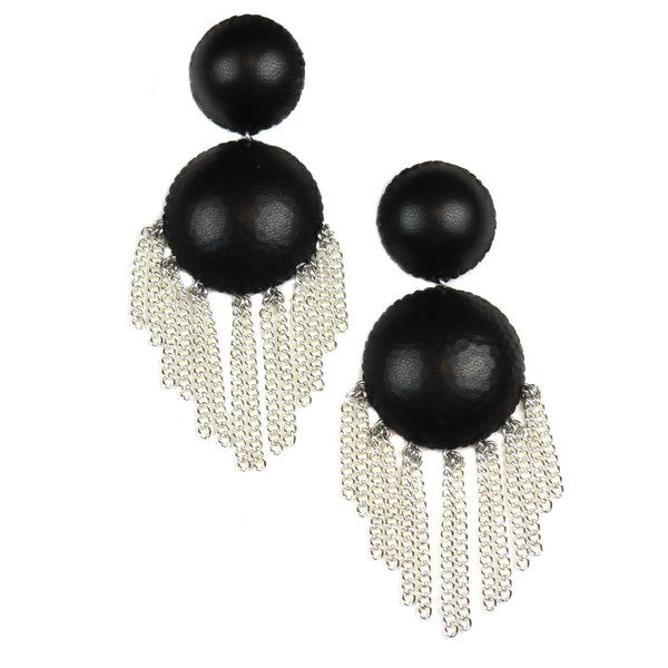 Chandelier Ball Drop Earrings - Ebony and Silver