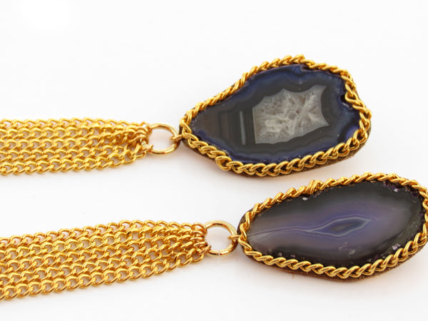 Gemstone Chain Tassel Earrings - Purple