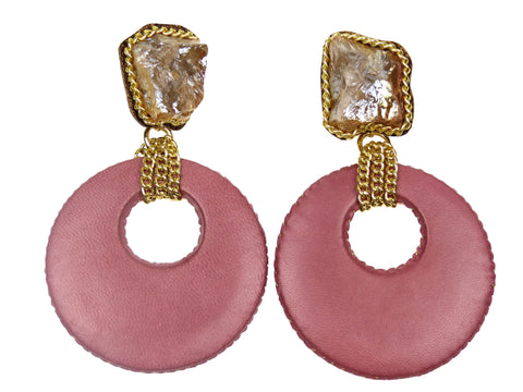 Blush Pink Leather Circle Drop Earrings