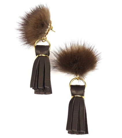 Mink Tassel Earrings - Chocolate