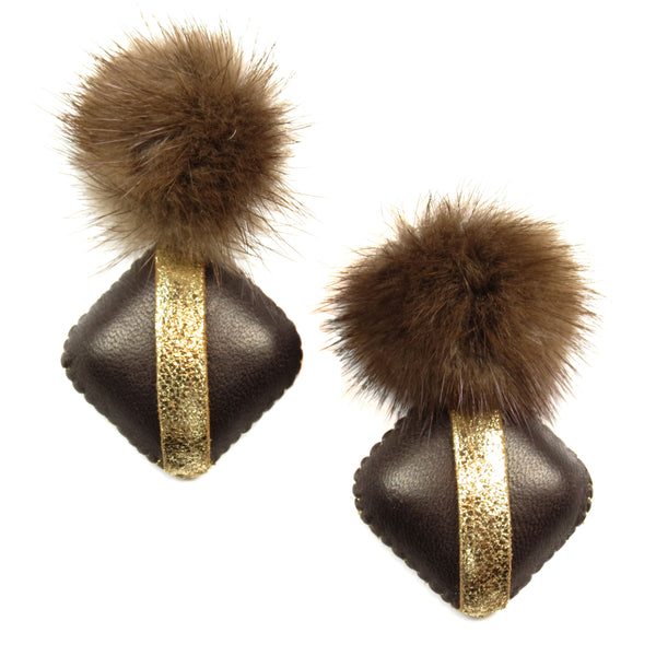 Mink Drop Earrings - Brown and Gold