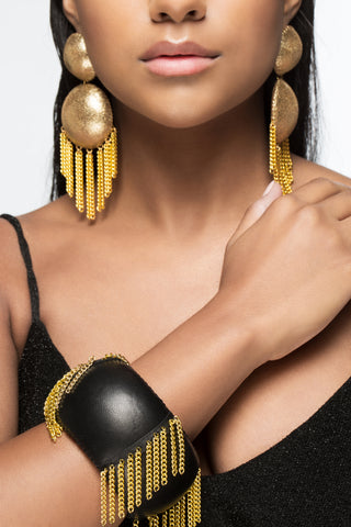 Black and Gold Chandelier Bangle Bracelet